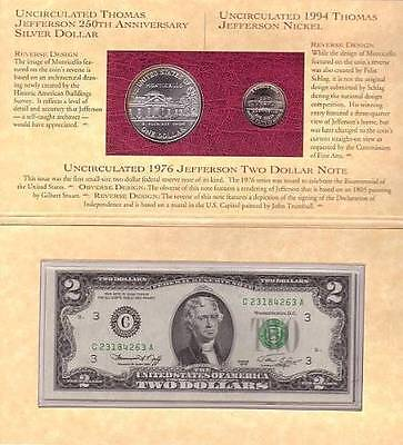 1993 Thomas Jefferson Coinage and Currency Set Commemorative US Mint Coins