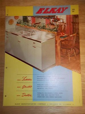 Vtg Elkay Manufacturing Co Catalog~Kitchen Sinks~Lustertone/Duratone~1953