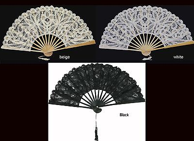 Battenburg Lace Victorian Civil War Fan Beige White or Black Wedding Supplies