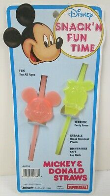 Disney Mickey Mouse Donald Duck Vintage Plastic Figural Drinking Straws Carded