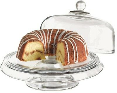 Anchor Hocking Presence Glass Dome Cake Stand 4 in 1 Cake Display Punch Bowl