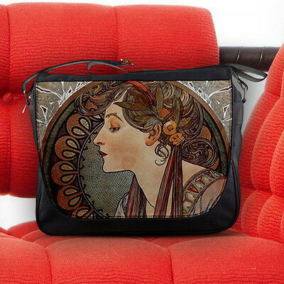 Alphonse Mucha Unique Artwork Nouveau Art Unisex Messenger Sling Notebook Bag