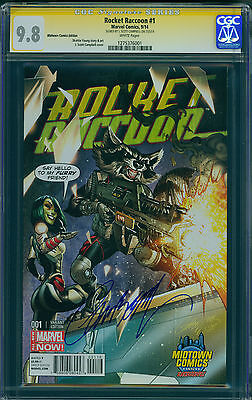ROCKET RACCOON #1 Midtown Variant, CGC 9.8, Signed J Scott Campbell, White Pages