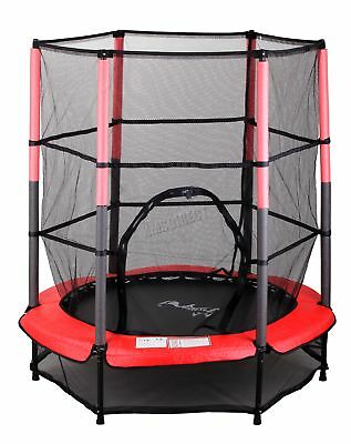 "FoxHunter 55"" 4.5FT Junior Trampoline With Enclosure Safety Net Kids Child Red"