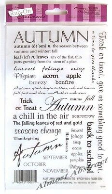 Autumn Sentiments: E-Z Rub-On Transfers Sheet (Decals) Words Text ~ New
