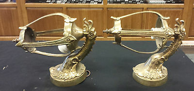 Pair Vintage Heavy cast Brass/bronze sconces lantern bird Phoenix (?) porch