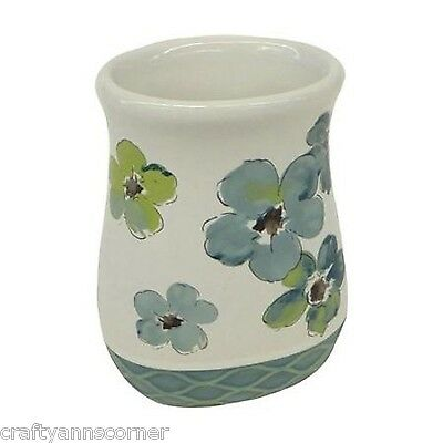 Saturday Knight Dragonfly Flowers Teal Green Bath Tumbler Cup