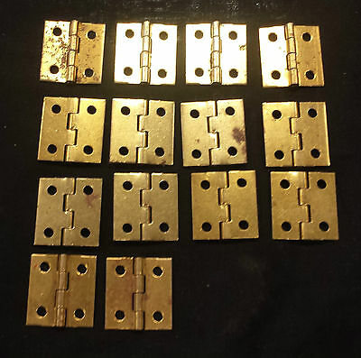 Small BRASS plated hinges 1 by 1 cabinet cupboard doors