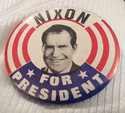 Vtg Richard Nixon For President Political Pin Back Pin Lapel Badge Button 3-1/3""
