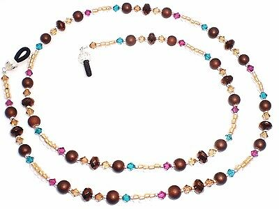 Colorado Topaz / Blue Zircon / Fuschia Crystal Bronze Eyeglass Chain Holder
