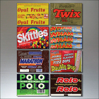 Nostalgic Sweet wrappers from 1970s and 80s vintage - Set of 8 Fridge Magnets