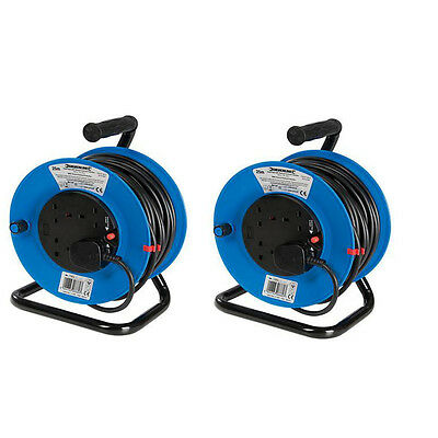 (Pack of 2) 240V 25m Extension Cable Reel 4 Way Plug Socket Mains 13 amp Lead