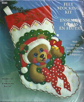 Designs Works Felt Christmas Stocking Kit 5020 Teddy Bear Embroidery Sewing