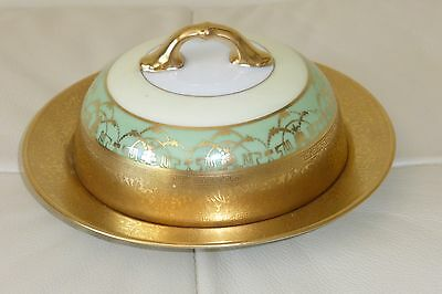 Antique H&c Selb Bavaria Germany Heinrich &co Gold Gilded Covered Butter Dish