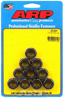 """ARP 200-8637 Nuts - 1/2""""-20 - Black Oxide Finish - Hex Head - 10 Pack"""