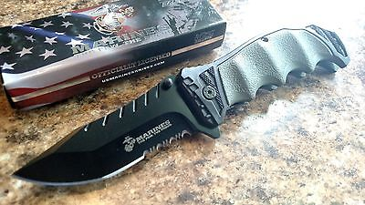 "MTech Marines 8"" Black Half Serrated Blade Spring Assisted Folding Knife"