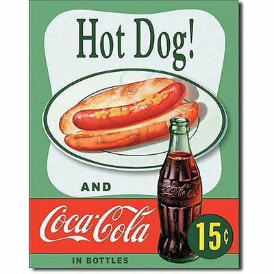 Hot Dog and Coca Cola Coke Combo 15 Cents Retro Vintage Tin Sign - 13x16 NEW