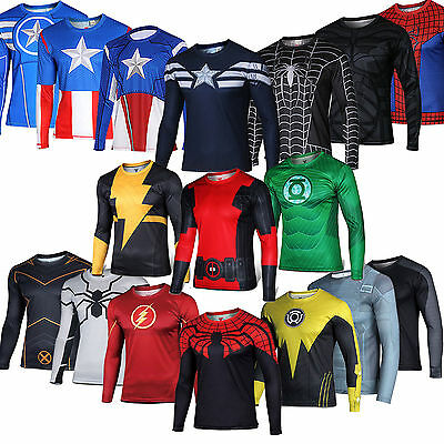 Mens Superhero Extreme Sports Clothes T Shirt Tee Gym Training Jogging Cycling