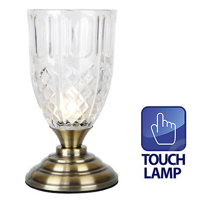 TOUCH Vintage Style Antique Brass & Glass Touch Bedside Desk Table Light Lamp