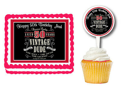 Vintage Dude Men 50th Milestone Edible Birthday Cake Cupcake Topper Pick Sticker