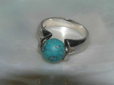 Estate 925 Sterling Silver Thick Band w High Set Faux Turquoise Stone Ball Ring