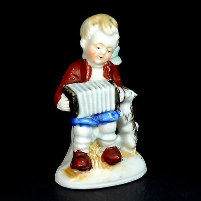 VINTAGE Figurine Little Boy Playing His Accordion with His Dog - Unmarked