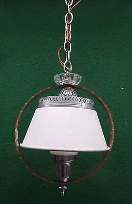 Vintage Art Deco Chrome Milk Glass Ceiling Light Fixture Shabby Old Chic 4691-15