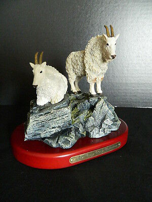 Rocky Mountain Goat Pair Figurine Sculpture Amy & Addy Gray Rock Collection