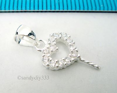 1x STERLING SILVER HEART CZ PEARL BAIL PIN PENDANT SLIDE CONNECTOR BEAD #2481