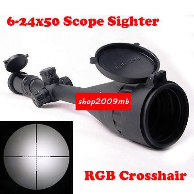"""6-24x50mm RGB Mil-Dot Scope Sight for Rifle Hunting with 1"""" Ring 20mm Rail Mount"""