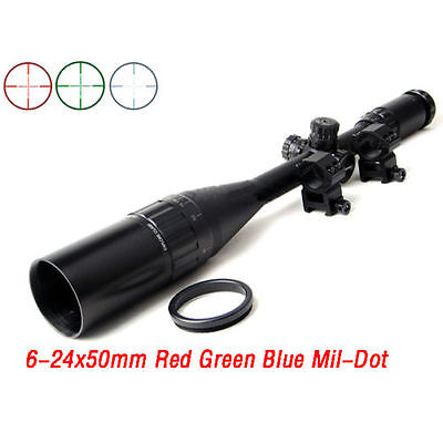 "6-24X50mm Rgb Mil-Dot Scope Sight & 1"" Ring 20mm Rail Mount For Rifle Hunting"
