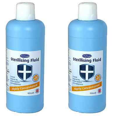2 x Dr Johnson's Highly Concentrated Sterilising Fluid 1 Litre