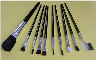 10 Make Up Brushes Set Foundation Blusher Face Powder Brush Beauty Gift Eye Brow