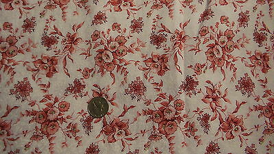 "Cotton Fabric SHADES OF RED & PINK FLORAL,WHITE FLORAL BK  1 Yd/44"" Wide"