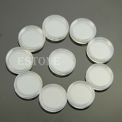 18mm Applied Clear Round Cases Coin Storage Capsules Holder Round Plastic 10pcs