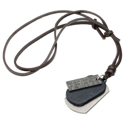 Mens Womens Vintage Military Army Dog Tag Charms Leather Pendant Choker Necklace