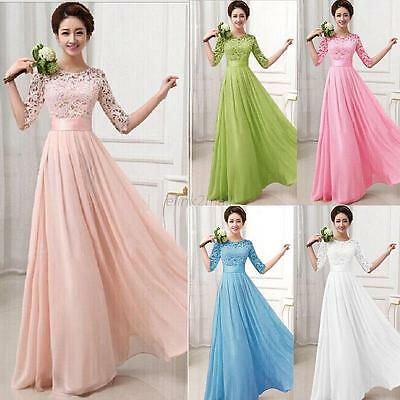 Womens Sexy Long Formal Gown Bridesmaid Lace Dress Wedding Party Evening Dresses