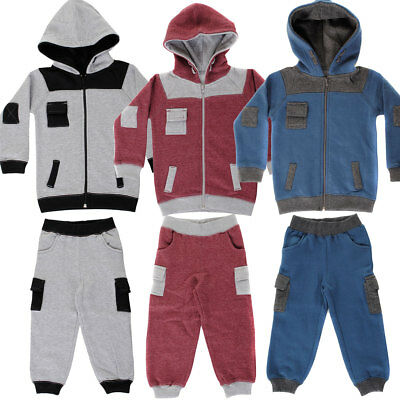 Baby Boys, Girls Contrast Cuff Shoulder Patch Toddlers Babies Full Zip Tracks...