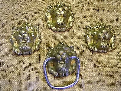 Vintage lion door knocker? Towel holder? with lion trim set