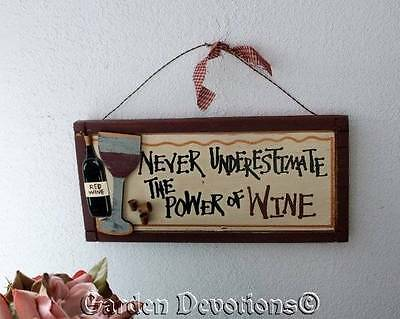 """WINE WALL DECOR """"Never Underestimate the Power of Wine"""" CORK ACCENTS"""