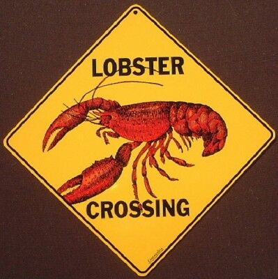 LOBSTER ALUMINUM CROSSING Sign decor novelty home lobsters picture signs home