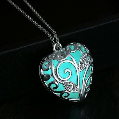 Magical Aqua Blue Love Heart Tree Glow in the Dark Pendant Necklace Chic Fashion