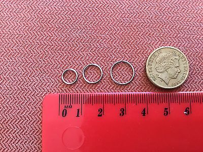 Bulk Three Of 316L Surgical Steel 20g Seamless Ear Nose Lip Hoop Ring Three Size