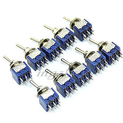 10pcs DPDT Miniature Toggle Small Switch 2 Position 6 PIN ( ON-ON ) 5A 250V