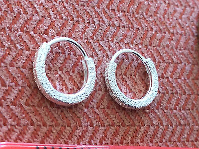 Pair of Patterned S925 Sterling Silver 18g Hoop Ring Nose Earring Stud Two Sizes