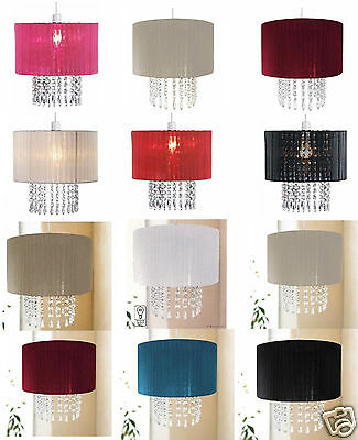 Riband Voile Beaded Pendant Acrylic Droplet Ceiling Light Shade Chandelier 30CM