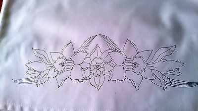 Ready to embroider pillow cases Daffodil  spring flowers poly cotton CS0064