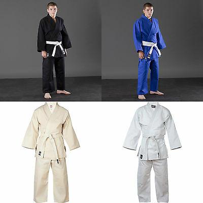 Blitz Adult Kids Judo Uniform Suits White Blue And Black With Free Belt