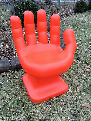 """GIANT Orange HAND SHAPED CHAIR 32"""" tall adult size 70's Retro EAMES iCarly NEW"""