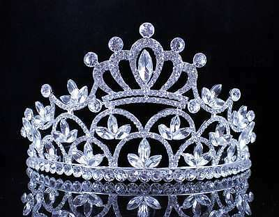 Crown Clear Austrian Crystal Rhinestone Tiara With Hair Combs Pageant Prom T1889